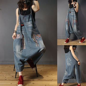 Casual Patchwork Distressed Drop Crotch Jumpsuit