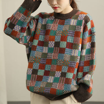 Casual Plaid Winter Mosaic Women Sweater