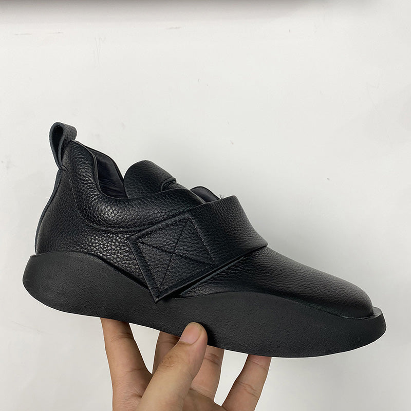Casual Pure Color Velcro Leather Shoes