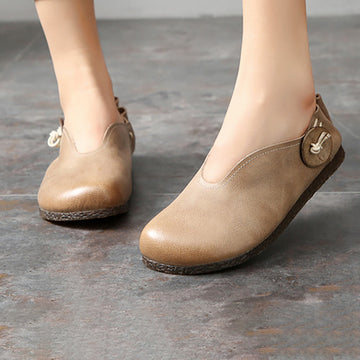 Casual Round-toe Leather Flat Shoes