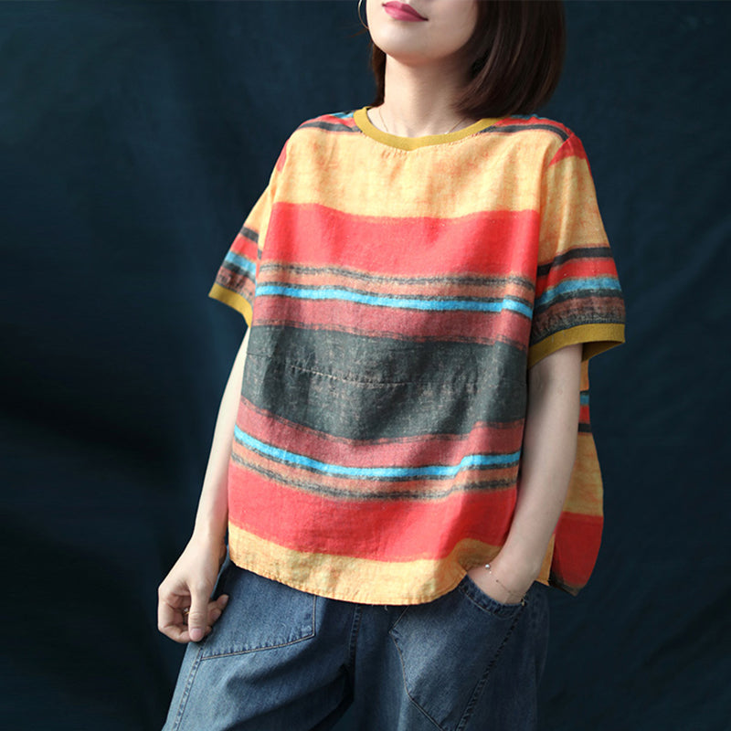 Plus Size - Side Button Colored Stripe Cotton Linen T-shirt
