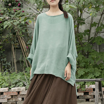 Casual Solid Color Irregular Hem Ramie Blouse