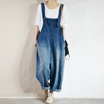 Casual Solid Color Straight Denim Jumpsuit