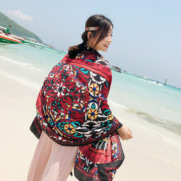 Casual Thin Tassel Printed Sunscreen Scarf For Women