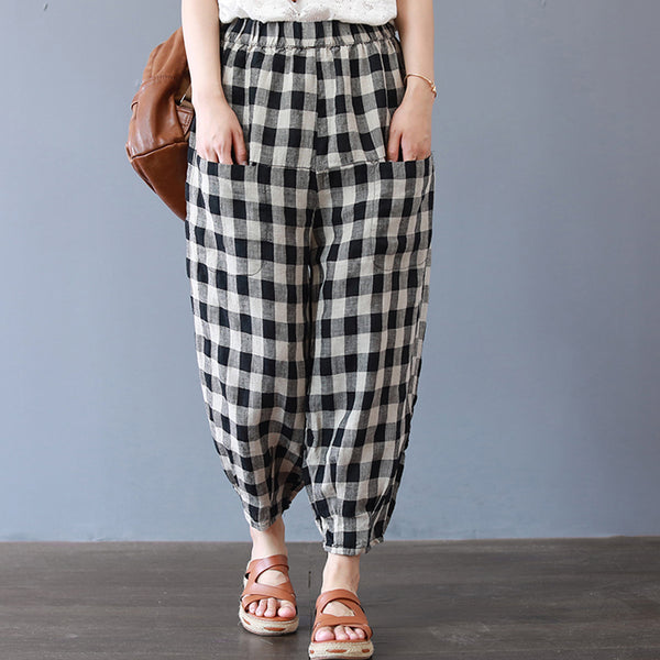 Casual Ankle-length Black Plaid Pants For Women