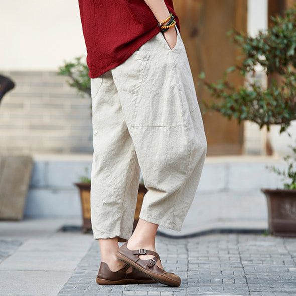 Casual Ankle-length Ramie Retro Women Pants