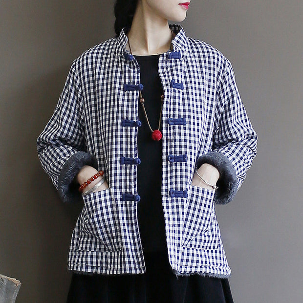 Casual Autumn Plaid Plus Velvet Warm Coat