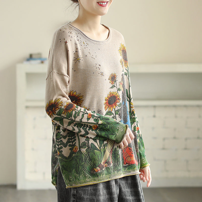 Casual Cartoon Printed Knitted Shirt