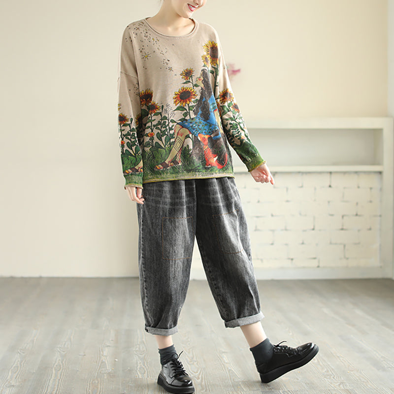 Casual Cartoon Printed Knitted Sweater