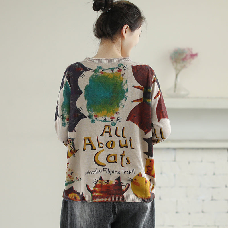 Casual Cat Print Knitted Women Sweater