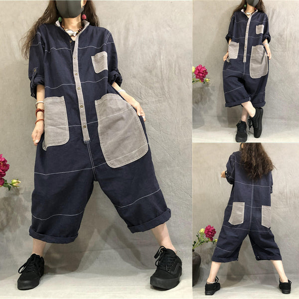Casual Color Matching Patch Designs Overalls