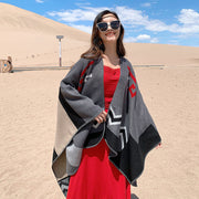 Casual Colorblock Sunscreen Warm Print Shawl