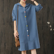 Casual Colored Buttons Long Sleeve Hooded Dress