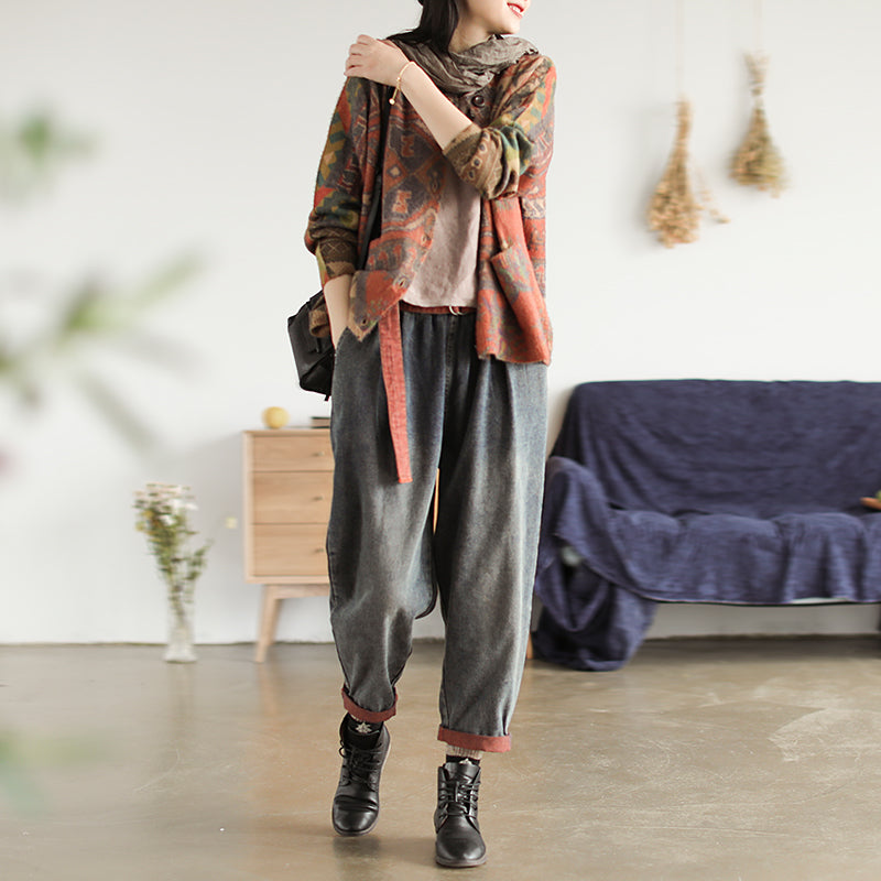 Casual Colored Printed Comfortable Knit Coat