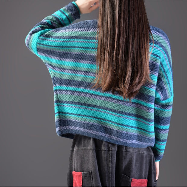 Casual Colored Striped Cardigan Sweater