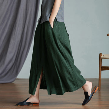 Plus Size - Casual Solid Color Split Hem Skirt