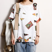 Casual Cotton Short Sleeve Print Blouse