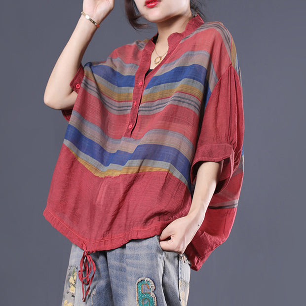 Casual Cotton Striped Short Sleeve Blouse