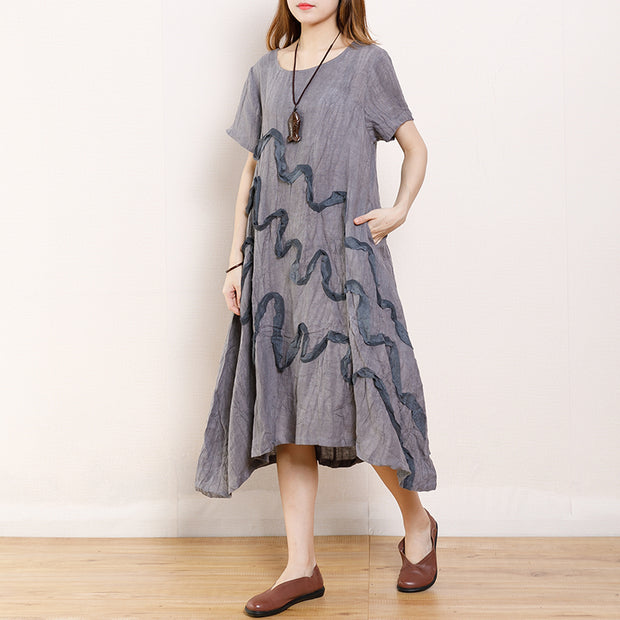 Casual Curve Patchwork Loose Linen Dress