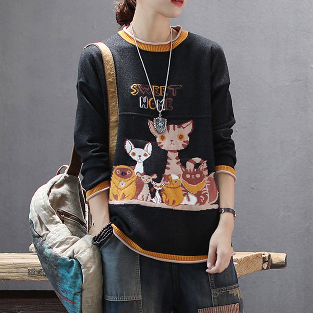 Casual Cute Cartoon O-neck Knit Shirt
