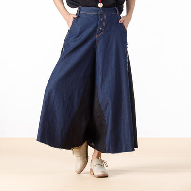 Casual Denim Linen Loose Women Wide Leg Pants