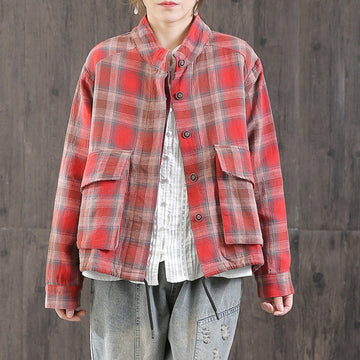 Casual Drawstring Plaid Short Coat