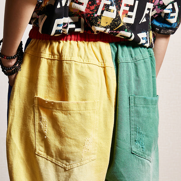 Casual Elastic Waist Pockets Color Matching Hole Jeans