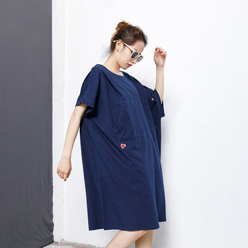 Casual Embroidery Front Pocket Long T-shirt Dress