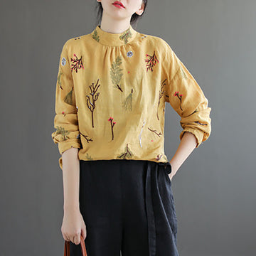 Casual Embroidery Stand Collar Linen Shirt