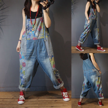 Casual Fine Stripe Stitching Flower Jumpsuit
