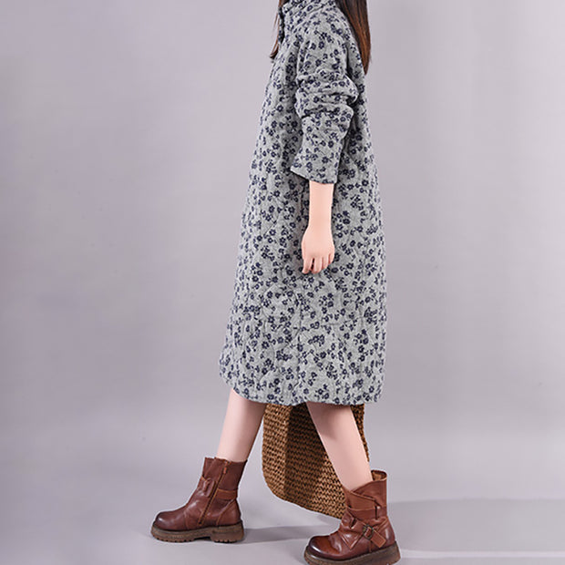 Casual Floral Printed Padded Warm Dress