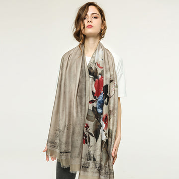 Casual Flower Print Thin Scarf