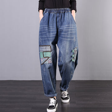 Casual Frog Loose Patchwork Jeans