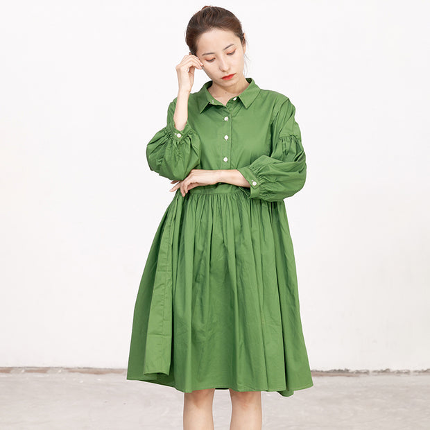 Casual Green Long Sleeves Autumn Pleating Dress