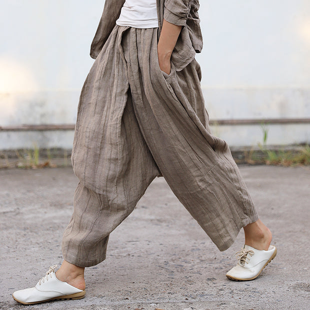 Casual Hand Dyed Linen Cross Pants