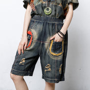 Casual Hole Elastic Waist Pockets Pants