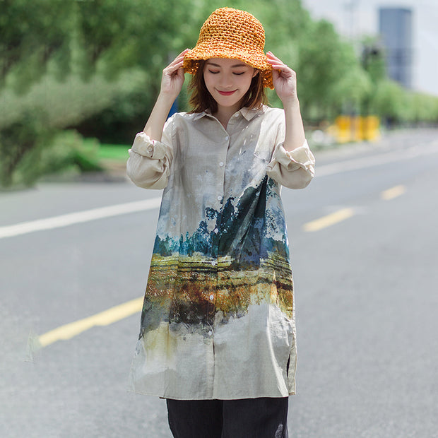 Casual Ink Printed Split Hem Long Shirt