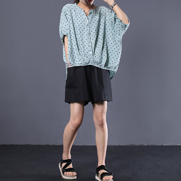 Casual Irregular Dot Short Sleeve Blouse