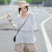 Casual Linen Dot V-Neck Women Blouse