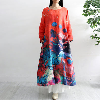 Casual Linen Floral Print Long A-Line Red Dress