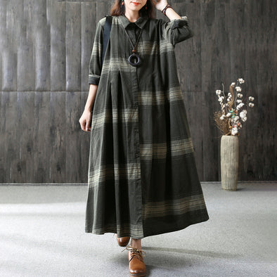 Casual Linen Maxi Dress Loose Long Sleeve