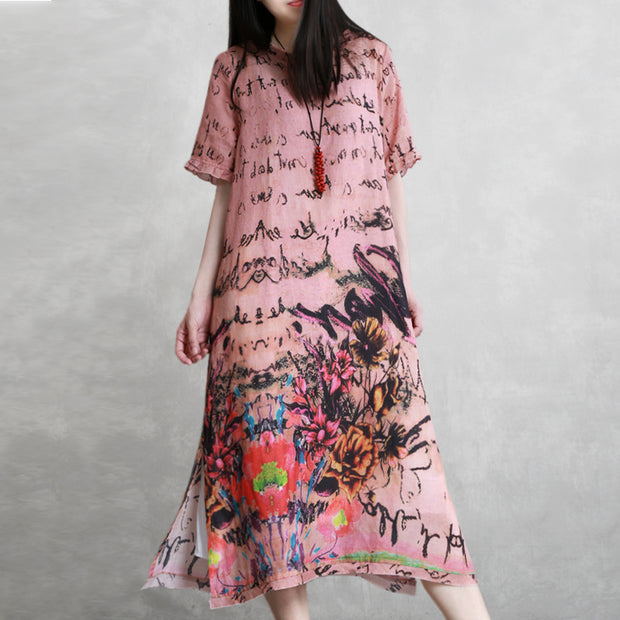 Casual Linen Round Neck Print Dress