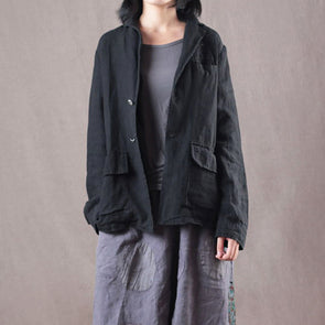 Casual Linen Solid Autumn Office Lady Coat
