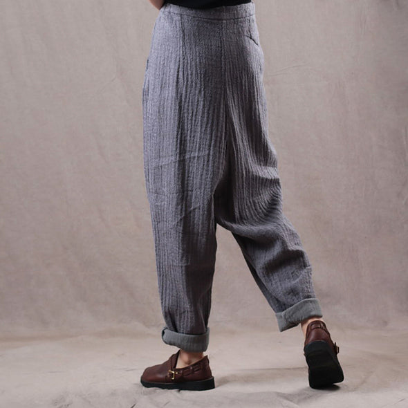 Casual Linen Solid Color Women Harem Pants