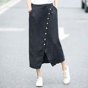 Casual Linen Solid Drawstring Women Skirt
