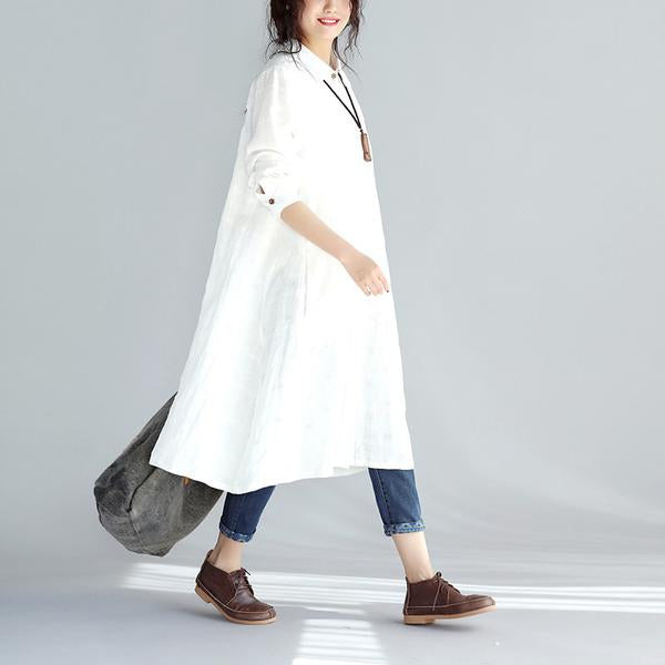 Casual Linen Women Solid Color Long Shirt