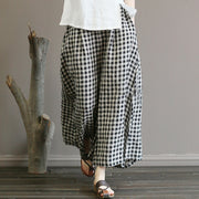 Casual Loose Black Plaid Wide Leg Pants