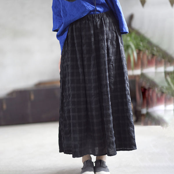 Casual Loose Cotton Plaid Pleated Skirt