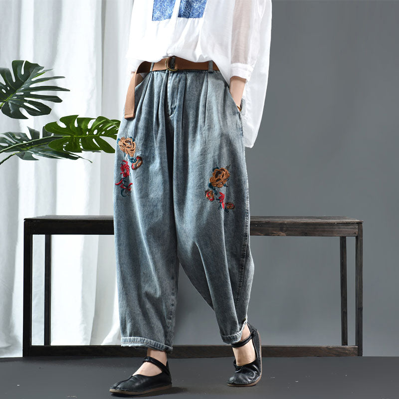Casual Loose Embroidery Jeans For Women