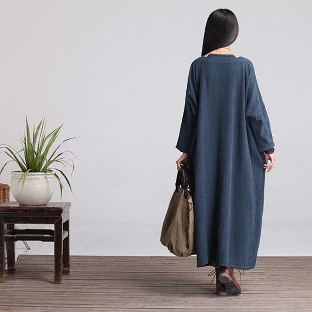 Custom made Casual Loose Fitting Long Sleeved Cotton and Linen Long Dress